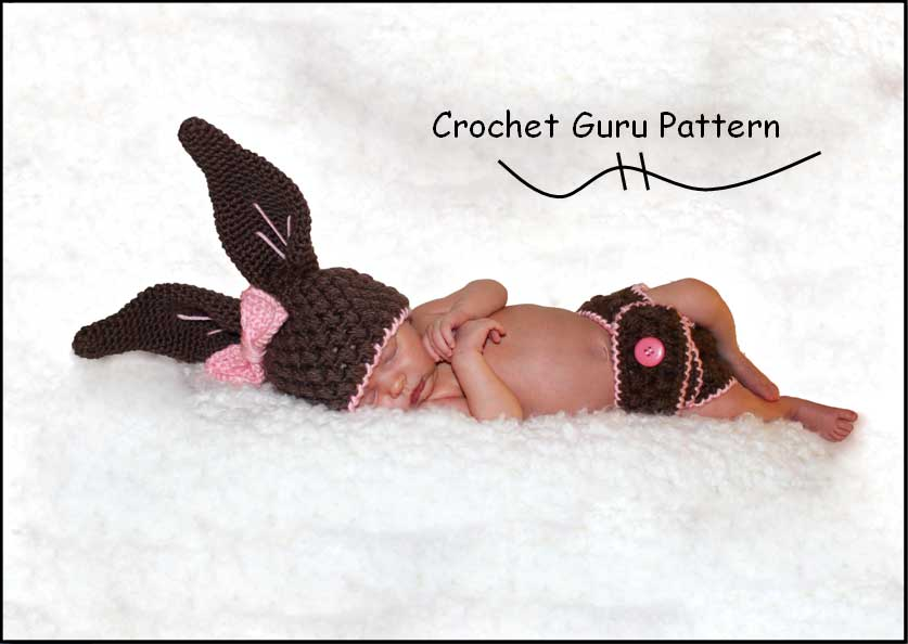 Crochet Baby Bunny Hat And Diaper Cover Pattern